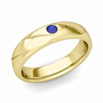 Solitaire Sapphire Anniversary Ring in 18k Gold Shiny Wedding Band, 5mm