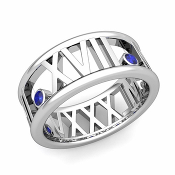 3 Stone Sapphire Roman Numeral Wedding Ring in Platinum, 9mm