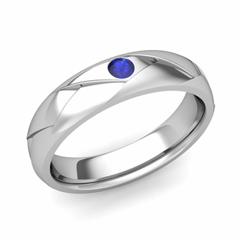 Solitaire Sapphire Anniversary Ring in Platinum Shiny Wedding Band, 5mm