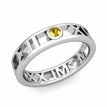 Bezel Set Yellow Sapphire Roman Numeral Wedding Ring in 14k Gold, 5mm