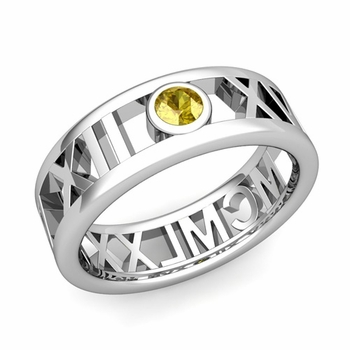 Bezel Set Yellow Sapphire Roman Numeral Wedding Ring in 14k Gold, 7mm