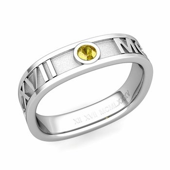 Square Roman Numeral Yellow Sapphire Wedding Band in 14k Gold, 5mm