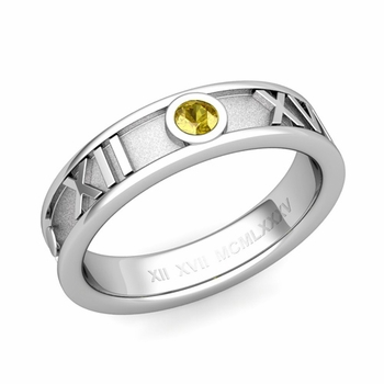 Solitaire Yellow Sapphire Roman Numeral Wedding Ring in 14k Gold, 5mm