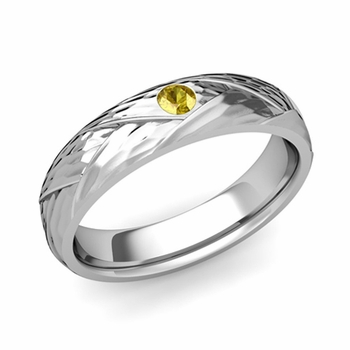 Solitaire Yellow Sapphire Anniversary Ring in 14k Gold Hammered Wedding Band, 5mm