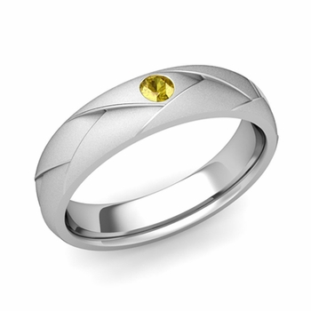 Solitaire Yellow Sapphire Anniversary Ring in 14k Gold Satin Wedding Band, 5mm
