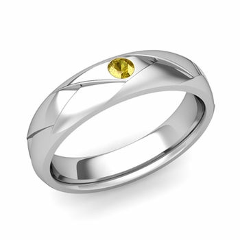 Solitaire Yellow Sapphire Anniversary Ring in 14k Gold Shiny Wedding Band, 5mm