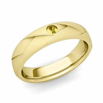 Solitaire Yellow Sapphire Anniversary Ring in 18k Gold Brushed Wedding Band, 5mm