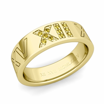 Roman Numeral Wedding Ring with Pave Set Yellow Sapphire in 18k Gold
