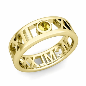 Bezel Set Yellow Sapphire Roman Numeral Wedding Ring in 18k Gold, 7mm