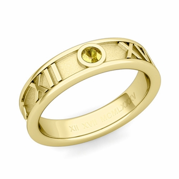 Solitaire Yellow Sapphire Roman Numeral Wedding Ring in 18k Gold, 5mm