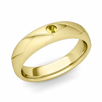 Solitaire Yellow Sapphire Anniversary Ring in 18k Gold Satin Wedding Band, 5mm