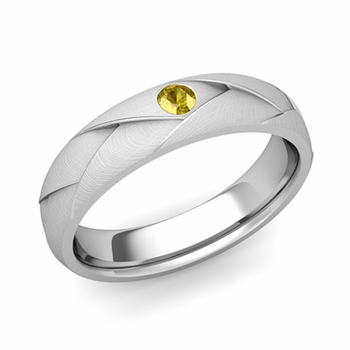 Solitaire Yellow Sapphire Anniversary Ring in Platinum Brushed Wedding Band, 5mm
