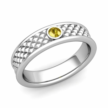 Solitaire Yellow Sapphire Anniversary Ring in Platinum Diamond Cut Wedding Band, 5.5mm
