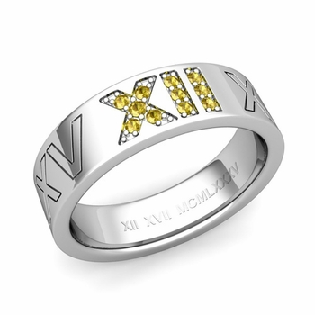 Roman Numeral Wedding Ring with Pave Set Yellow Sapphire in Platinum