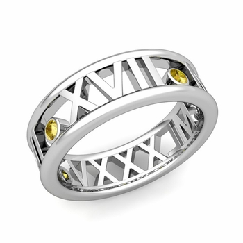 3 Stone Yellow Sapphire Roman Numeral Wedding Ring in Platinum, 7mm