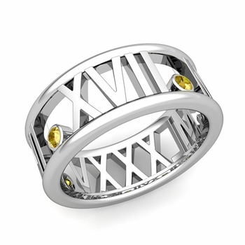 3 Stone Yellow Sapphire Roman Numeral Wedding Ring in Platinum, 9mm