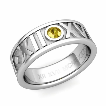Solitaire Yellow Sapphire Roman Numeral Wedding Ring in 14k Gold, 7mm