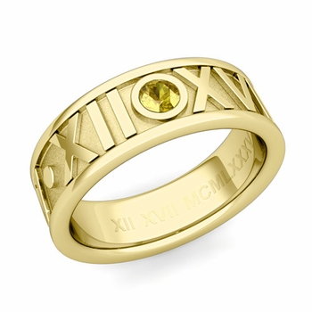 Solitaire Yellow Sapphire Roman Numeral Wedding Ring in 18k Gold, 7mm