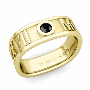 Square Roman Numeral Black Diamond Wedding Band in 18k Gold, 7mm