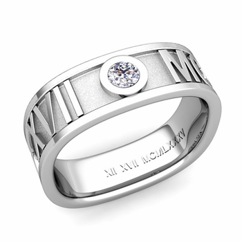 Square Roman Numeral Diamond Wedding Band in 14k Gold, 7mm