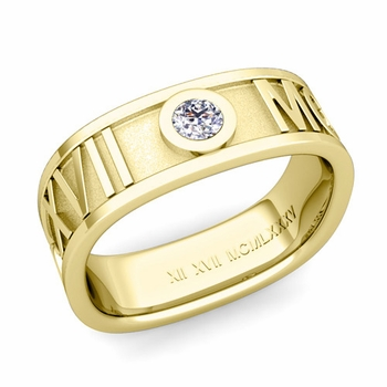 Square Roman Numeral Diamond Wedding Band in 18k Gold, 7mm
