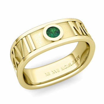 Square Roman Numeral Emerald Wedding Band in 18k Gold, 7mm