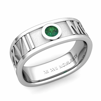 Square Roman Numeral Emerald Wedding Band in Platinum, 7mm
