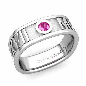 Square Roman Numeral Pink Sapphire Wedding Band in 14k Gold, 7mm