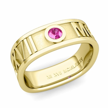 Square Roman Numeral Pink Sapphire Wedding Band in 18k Gold, 7mm