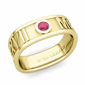 Square Roman Numeral Ruby Wedding Band in 18k Gold, 7mm