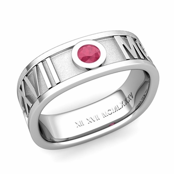 Square Roman Numeral Ruby Wedding Band in Platinum, 7mm