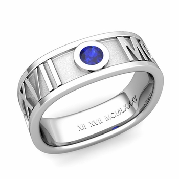 Square Roman Numeral Sapphire Wedding Band in 14k Gold, 7mm