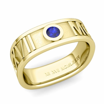 Square Roman Numeral Sapphire Wedding Band in 18k Gold, 7mm
