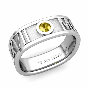 Square Roman Numeral Yellow Sapphire Wedding Band in 14k Gold, 7mm