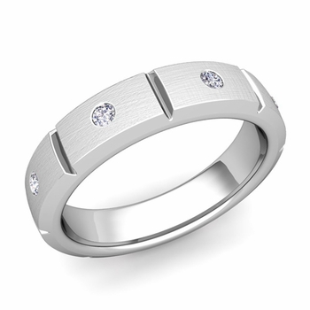 Swiss Cut Diamond Wedding Anniversary Ring in 14k Gold Brushed Ring, 5mm