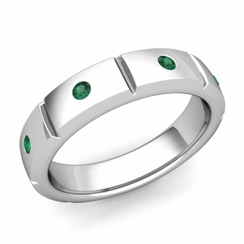 Swiss Cut Emerald Wedding Anniversary Ring in 14k Gold Shiny Ring, 5mm