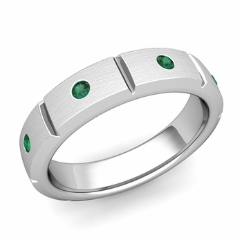 Swiss Cut Emerald Wedding Anniversary Ring in Platinum Brushed Ring, 5mm