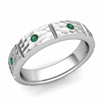 Swiss Cut Emerald Wedding Anniversary Ring in Platinum Hammered Ring, 5mm