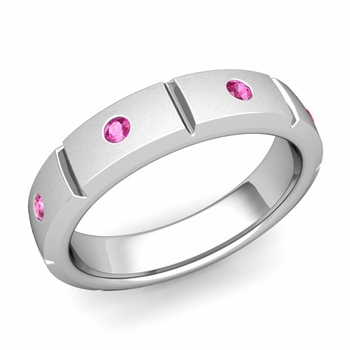 Swiss Cut Pink Sapphire Wedding Ring in 14k Gold Satin Ring, 5mm