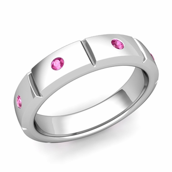 Swiss Cut Pink Sapphire Wedding Ring in 14k Gold Shiny Ring, 5mm