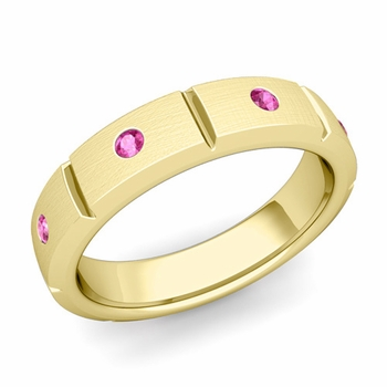 Swiss Cut Pink Sapphire Wedding Ring in 18k Gold Brushed Ring, 5mm