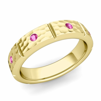 Swiss Cut Pink Sapphire Wedding Ring in 18k Gold Hammered Ring, 5mm