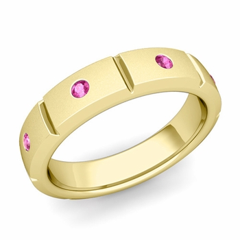 Swiss Cut Pink Sapphire Wedding Ring in 18k Gold Satin Ring, 5mm