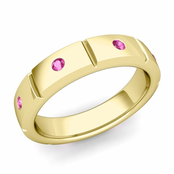 Swiss Cut Pink Sapphire Wedding Ring in 18k Gold Shiny Ring, 5mm