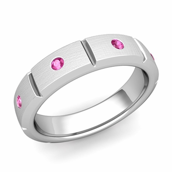 Swiss Cut Pink Sapphire Wedding Ring in Platinum Brushed Ring, 5mm