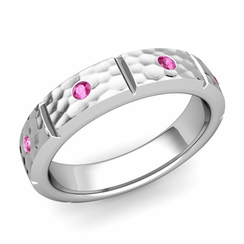 Swiss Cut Pink Sapphire Wedding Ring in Platinum Hammered Ring, 5mm