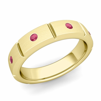 Swiss Cut Ruby Wedding Anniversary Ring in 18k Gold Brushed Ring, 5mm