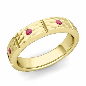 Swiss Cut Ruby Wedding Anniversary Ring in 18k Gold Hammered Ring, 5mm