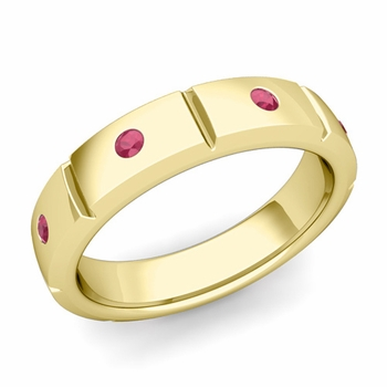 Swiss Cut Ruby Wedding Anniversary Ring in 18k Gold Shiny Ring, 5mm