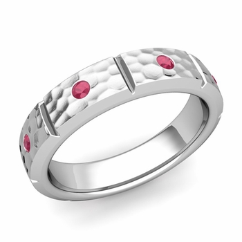 Swiss Cut Ruby Wedding Anniversary Ring in Platinum Hammered Ring, 5mm